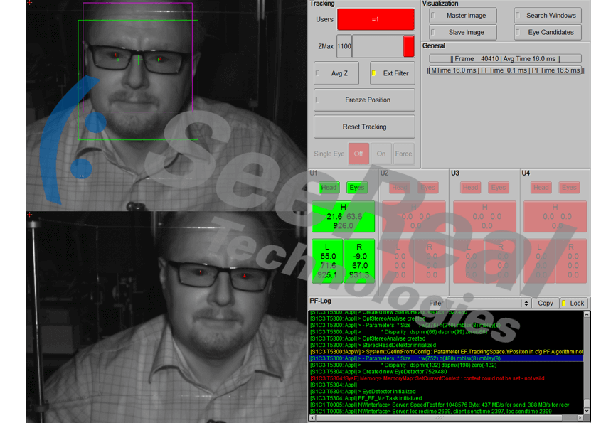 SeeReal Eye Tracking software / control interface